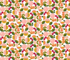 Stone Fruit    peach nectarine apricot cherry cherries leaves nature food coral mustard geometric abstract
