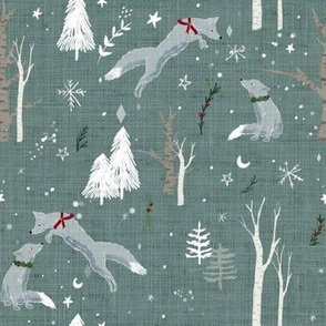Teal Green Foxes in Snow