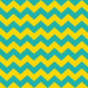 Teal and yellow chevrons