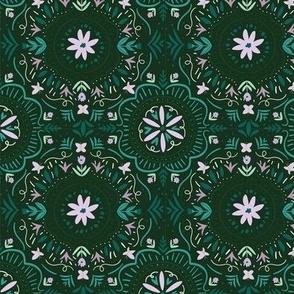 Flower Tile in Forest Green