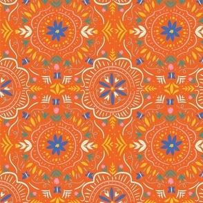Flower Tile Gypsy Orange