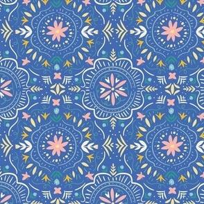 Flower Tile in Sea Blue
