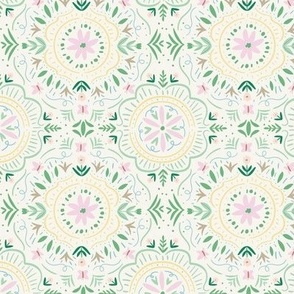 Flower Tile in Pink and Green