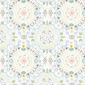Flower Tile in Pastels