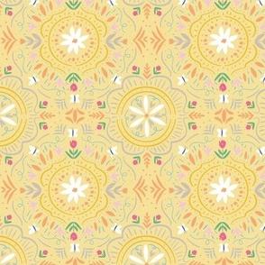 Flower Tile in Sunny Lemon