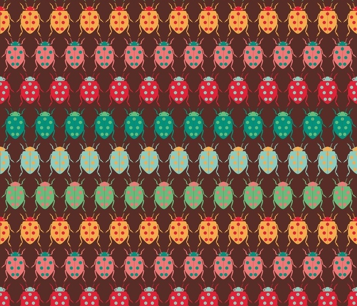 Lady Beetles retro brown