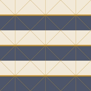 Geometric navy gold color block