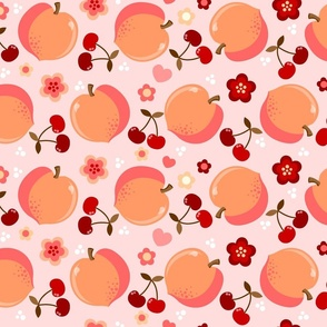 Peaches And Cherries on Pink
