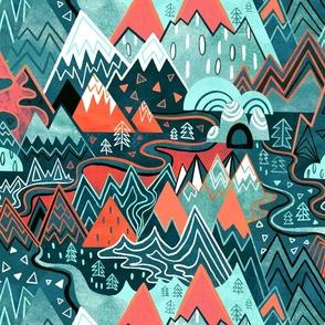Maximalist Mountain Maze - Bright Mint & Tangerine - Large Scale