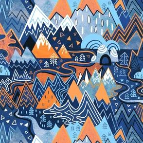 Maximalist Mountain Maze - Bright Orange & Royal Blue - Large Scale