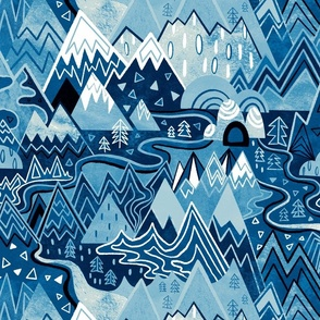Maximalist Mountain Maze - Winter Blues - Large Scale