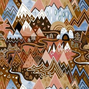 Maximalist Mountain Maze - Chocolate Brown, Tan & Steel Blue - Large Scale