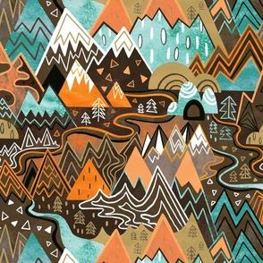 Maximalist Mountain Maze - Chocolate Brown, Mint & Orange - Large Scale