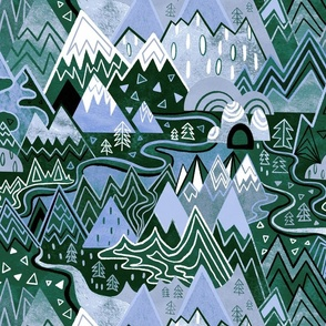 Maximalist Mountain Maze - Periwinkle Purple & Forest Green - Large Scale