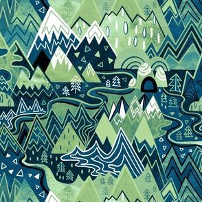 Maximalist Mountain Maze - Pastel Green & Royal Blue - Large Scale