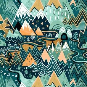 Maximalist Mountain Maze - Pastel Peach & Mint - Large Scale