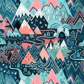 Maximalist Mountain Maze - Pastel Pink & Aqua - Large Scale