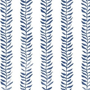 Botanical Block Print in Deep Navy on White   Leaf pattern fabric in navy blue from original plant block print, indigo blue, plant fabric in dark blue and white.