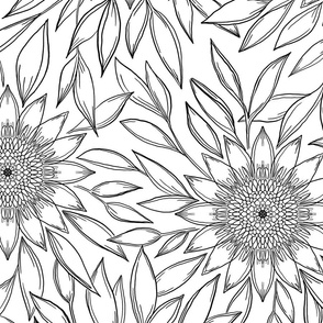 Floral ink drawing black and white
