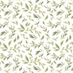 Wild Flowers Leaves  - White Green