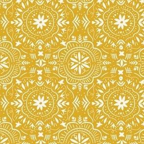 Flower Tile in Honey Yellow