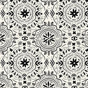 Flower Tile Black and White