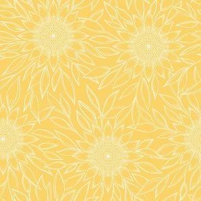 Floral ink drawing yellow