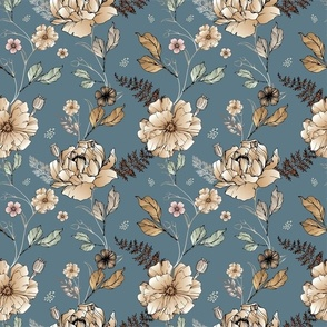 Vintage Floral Pale Blue