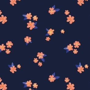 Little watercolor painted flowers tropical hibiscus blossom garden and petals summer design blue peach on navy