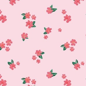 Little watercolor painted flowers tropical hibiscus blossom garden and petals summer design pink blush green