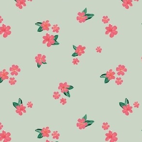 Little watercolor painted flowers tropical hibiscus blossom garden and petals summer design pink blush mint green