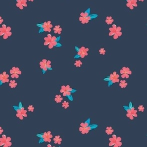 Little watercolor painted flowers tropical hibiscus blossom garden and petals summer design pink aqua on marine blue