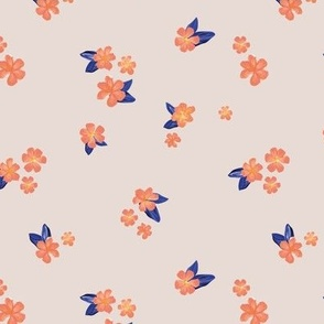 Little watercolor painted flowers tropical hibiscus blossom garden and petals summer design peach orange navy blue on blush beige