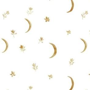 boho moonlight - watercolor moons and florals minimalistic esoteric a404-2