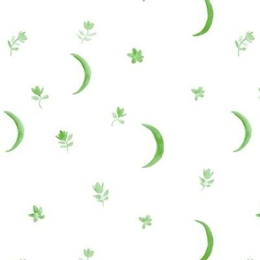 Jade green boho moonlight - watercolor moons and florals minimalistic esoteric a404-3