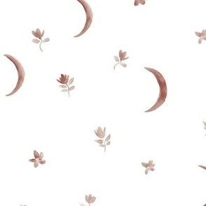 Earthy boho moonlight - beige watercolor moons and florals minimalistic esoteric a404-8