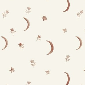 earthy on cream boho moonlight - watercolor moons and florals minimalistic esoteric a404-10