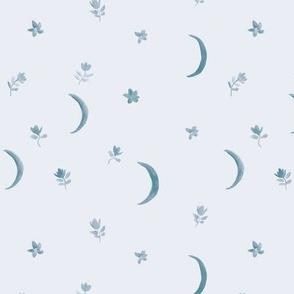 Indigo boho moonlight - watercolor blue moons and florals minimalistic esoteric a404-11
