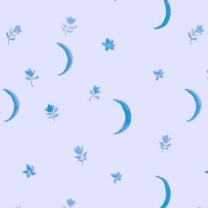 Serenity boho moonlight - watercolor moons and florals minimalistic esoteric a404-12