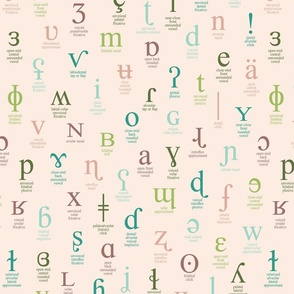 IPA characters and descriptions - large size pink, teal, green, light blue and olive on pale pink