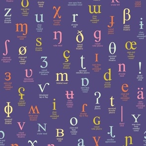 IPA characters and descriptions - medium size, pink, orange, mint and yellow on purple