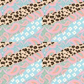 Abstract Patchwork Collage Paisley