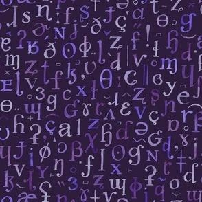 watercolor IPA symbols - purples on deep violet-black