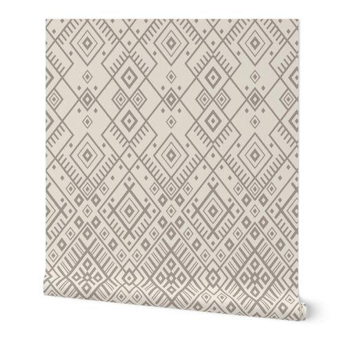 Neutral geometric intricate diamond - off white warm gray - Baltic, ethnic ornamental