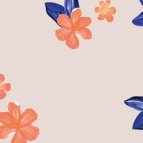 Little watercolor painted flowers tropical hibiscus blossom garden and petals summer design peach orange navy blue on blush beige JUMBO