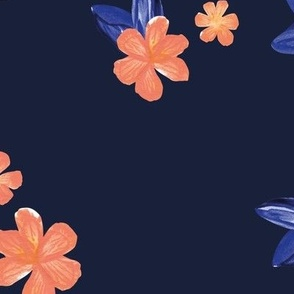Little watercolor painted flowers tropical hibiscus blossom garden and petals summer design blue peach on navy JUMBO