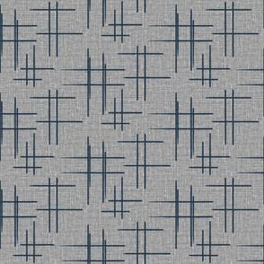 Blue Cross Hatch on Grey Linen