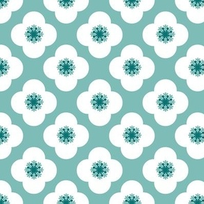 poppy geometric in sea glass,  white and teal