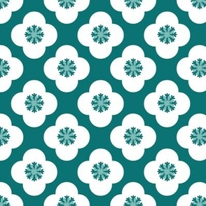 poppy geometric in white and teal