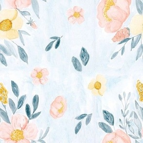 Watercolor flowers on baby blue background 8 inch